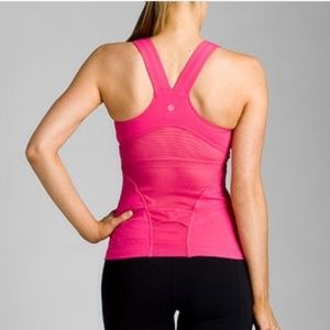 Lululemon Deep V Athletic Tank Top Pink Size 10